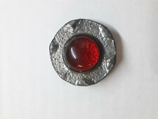 Vintage Red Cabochon Pewter Brooch