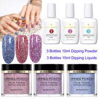 6Bottles BORN PRETTY Glitter Nail Dipping Powder 15ml Dip Liquid System No Gel