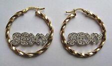 9Ct Gold Sexy Cubic Zirconia Hoop Earrings 5g