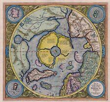 North polar region antique world maps atlases ebay septentrionalium terrarum colour north pole arctic map poster by gerard mercator gumiabroncs Choice Image