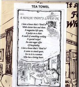TEA TOWEL A HOUSE THAT'S LIVED IN New Kitchen Gift *SENT BY RM 1ST CLASS POST*