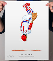 "Ozzie Smith St Louis Cardinals Baseball Illustrated Print Poster 12"" x 16"""