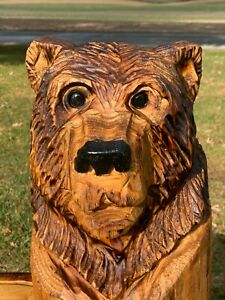 Chainsaw Carved CUTE BEAR Carving Cabin Decor Rustic Log Wood Sculptures