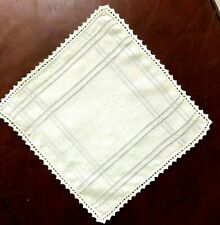 New listing ~Vtg Ladies Handkerchief~Delicate Hand Drawn Work~Finely Hand Crocheted Edge~