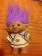 "VTG Ace Novelty Treasure Troll Doll BIG 9"" Purple Eyes & Hair & Jewel Belly"