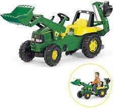 Rolly Toys RollyJunior John Deere Traktor mit Frontlader und Heckbagger (Grün)