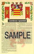 CORDOVA Armorial Name History - Coat of Arms - Family Crest GIFT! 11x17