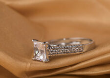 White Princess Cut Cubic Zirconia Stone Princess Silver Solitaire Ring 2.70 Ct