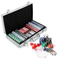 Poker Set - 300 Pcs Laser Chips Texas Hold Em Cards Dice Decks Casino Game UK
