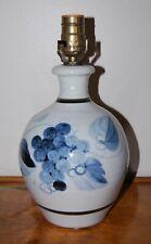 Rare Simon Pearce / Miranda Thomas Blue Handpainted Grapevine Pottery Lamp