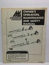 Eager Beaver I II III 1 2 3 Weed Trimmer Eater McCulloch Owner's Manual 1984