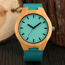 Attactive Blue Color Men's Bamboo Watch Quartz Analog Wooden Watches Leather