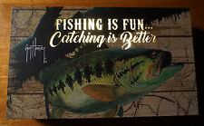 FISHING IS FUN CATCHING IS BETTER Lighted Fisherman Lodge Decor Cabin Sign NEW