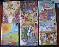 6 Learning Bible Stories is Fun books- childrens readers- Sing, Risen, Christmas