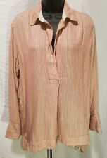 Free People Maroon Pink Striped Long Sleeve Collar Shirt Top Tunic S Small $108