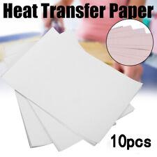 10Pcs Heat Transfer Paper für T-Shirt  Malerei Aufbügelpapier für leichteStoffe