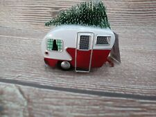 NWT Red & White Metal Camper & Tree - Christmas Ornament Vintage Nostalgia RV