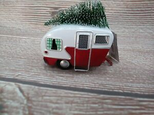 NWT Red & White Metal RV / Camper & Tree - Christmas Ornament Vintage Nostalgia