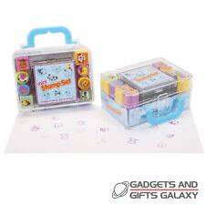 Mini Stamp Set 8 Stamps & Ink Pad Stationery Craft Art Toy Gift Childs Kids