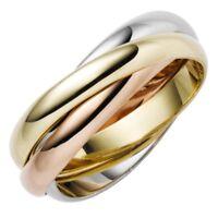 3-er Ring 3x3mm aus 585 Gold Gelbgold Weißgold Rotgold tricolor Damen, Goldring