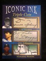 Lou Gehrig Joe DiMaggio Rivera auto reprint autograph facsimile NY Yankees ink