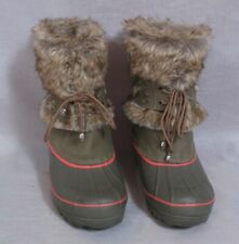 Women's Khombu Winter Boots Shoes Gray Size 9 Leather Rubber Faux Fur