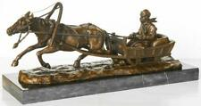 Large Russian Bronze - Man in Sleigh pulled by Horse - Signed Friedrich Gornik