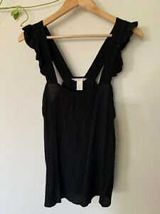 H&M black sleeveless top with frill detail on the straps -  EUR 40