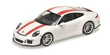 125066320 Porsche 911 R –2016 – White W/Red Stripes, 1:12 MINICHAMPS