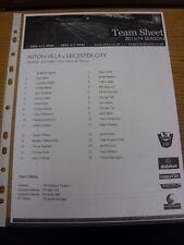 10/03/2014 Aston Villa U21 V Leicester City U21 [presso Burton Albion] (Singolo Foglio