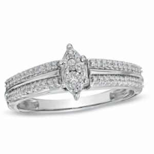 1/6 Ct Real Diamond Marquise Cluster Promise Ring in 9K White Gold -IGI-