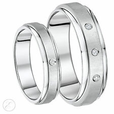His & Hers titanium diamond Wedding ring 5mm & 7mm