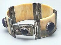 Altes 800 Silber Armband mit 5 großen Amethyst Cabochons Horn & Silber /F855