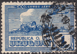 1939 Uruguay SC#  C99 - F - Plane Over Sculptured Oxcart - Used