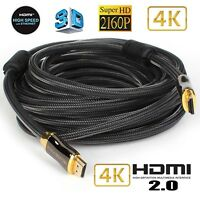 HDMI 2.0 Cable (4K @ 60Hz) Ready - 28AWG Braided Cord - High Speed 18Gbps 1~10M
