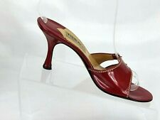 Isaac Mizrahi Shoes Womens Size 7 Slides Red Patent Leather Buckle High Heels