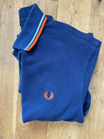 Mens Navy Blue Fred Perry Polo Shirt (Size - Medium)