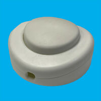White 2/3 Core 2A Foot Button Lamp Light Round Floor Inline On/Off Switch, 65mm