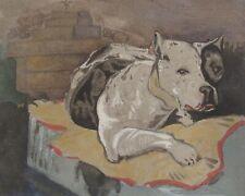 """Vintage mixed media painting American Bulldog dog 6.5""""x8"""""""