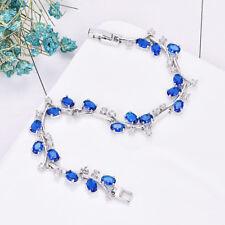 Floral Vine Bracelet Blue Topaz White Crystal Gem Platinum Plated Charm Bracelet