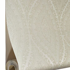 Grandeco Wallpaper - Luxury Kismet Damask / Glittered - Cream / Beige - A17701