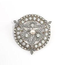 925er Silber Brosche mit Swarovski-Steinen u. synth. Perle Art déco 9901516