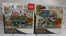 2 Flower Themed 500pc Puzzles Sealed in Box Watering Can Wagon Vintage Garden