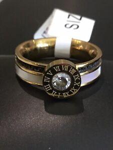 Ring Damen gold weiss schwarz römische Ziffern Design Strass Modeschmuck Gr. 18
