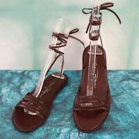 TRACEY ROSS Brown Leather Gladiator Sandals Flats 6, 6.5, 8 NEW