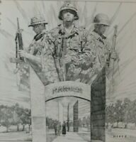 1994 18X18 RANGER MEMORIAL PRINT BY JAMES DIETZ  FORT BENNING GEORGIA ARMY
