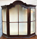 18TH C WILLIAM & MARY PERIOD ANTIQUE WALL CABINET / VITRINE W/TOMBSTONE BONNET