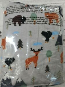 New Twin Flannel Bed Sheet Set Woodland Animals