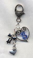 Qualcosa di blu sposa/sposa ciondolo portafortuna regalo cristalli CUORI & Fiocco
