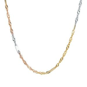 """Real Solid 18k Multi-tone Gold Chain Women Luck Singapore Link Necklace 15.7""""L"""